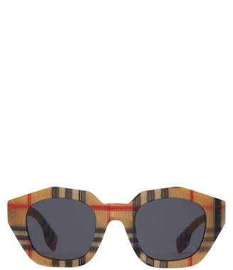Burberry Vintage Check Angular Oval Acetate Sunglasses - Womens - Beige