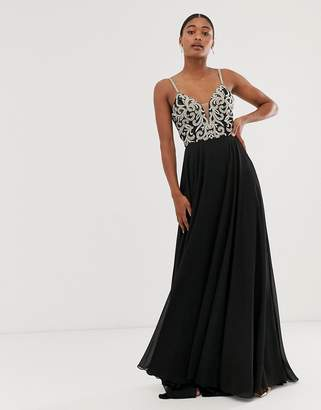 Jovani a line maxi dress with embellished top