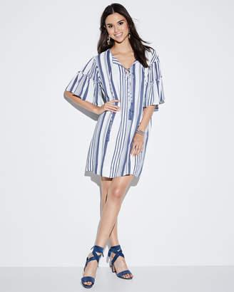 Neiman Marcus Striped Ruffle-Sleeve Tie-Neck Dress