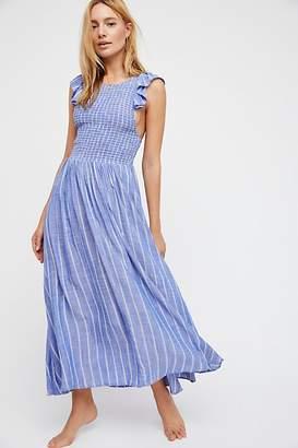 Chambray Butterflies Midi Dress