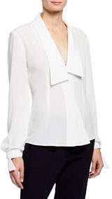 Shawl-Collar Wrap-Front Blouse