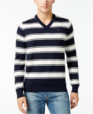 Tommy Hilfiger Men's Striped V-Neck Sweater $49.98 thestylecure.com