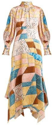 Peter Pilotto Geometric Print Hammered Silk Blend Midi Dress - Womens - Pink Multi