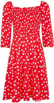 Dorothy Perkins Womens Red Floral Print Gypsy Shirred Fit And Flare Dress