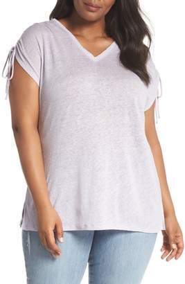 Vince Camuto Drawstring Shoulder Linen Top