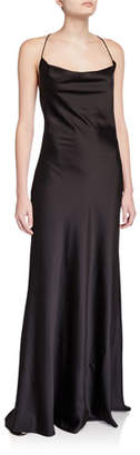 Jay Godfrey Sands Cowl-Neck X-Back Slip Gown
