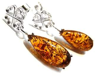 Goldmajor Sterling Silver and Teardrop Amber Stone with a Four Heart Bail Drop Earrings of 2.87cm