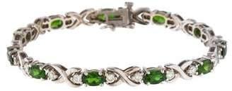 14K Diopside & Diamond Tennis Bracelet
