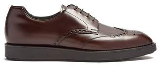 Prada Raised Soled Leather Brogues - Mens - Brown