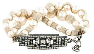 Lanvin Crystal & Faux Pearl Bracelet