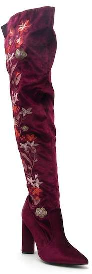 Qupid Miss Over-the-Knee Floral Embroidery Boots