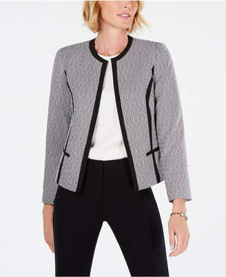 Kasper Petite Contrast-Trim Tweed Jacket