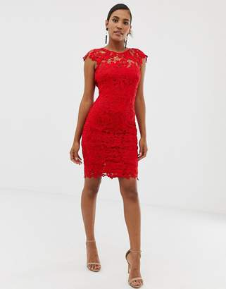 Paper Dolls midi lace dress with scalloped back in red