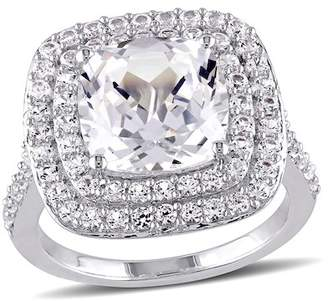 Delmar Sterling Silver Cushion Cut Created White Sapphire Double Halo Cocktail Ring
