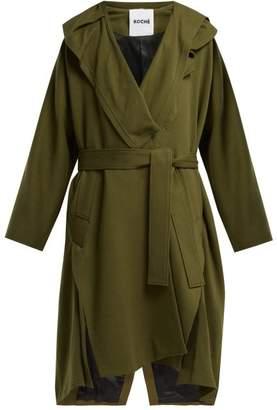 Koché Koche - Double Breasted Panelled Cotton Coat - Womens - Khaki