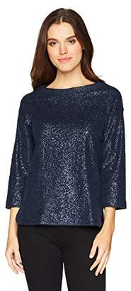Three Dots Women's Knit Loose Short Sweatshirt