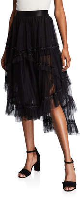 Max Studio Tiered Mesh High-Low A-Line Skirt