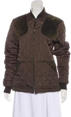 Gucci Suede-Trimmed Quilted Jacket