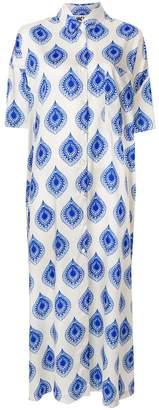Hache print flared shirt dress