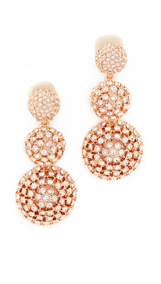 Oscar de la Renta Pave Crystal Dome Drop Clip On Earrings