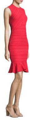 Shoshanna Stretch Jacquard Flounce Hem Sheath Dress $395 thestylecure.com