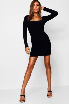 boohoo Square Neck Rib Knit Midi Dress