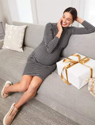 A Pea in the Pod Curvy Fit Mock Neck Maternity Dress