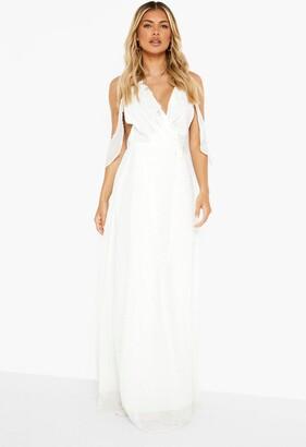 boohoo Boutique Chiffon Frill Wrap Maxi Dress