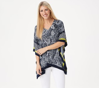 Susan Graver Printed Liquid Knit Scarf Top