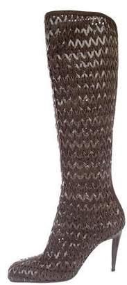 Sergio Rossi Woven Square-Toe Boots