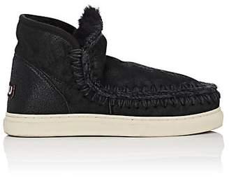 Mou Women's Mini Eskimo Sheepskin Sneaker Boots - Black