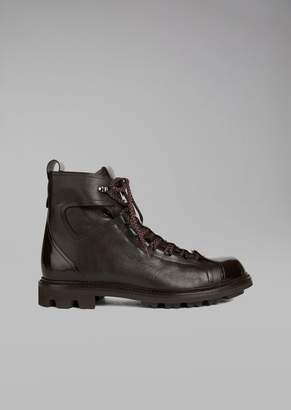 Giorgio Armani Hiking Boots In Grained Leather With Toe In Smooth Leather