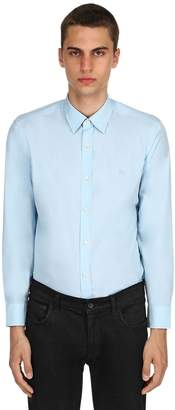 Burberry Slim Cotton Poplin Shirt W/ Check Detail