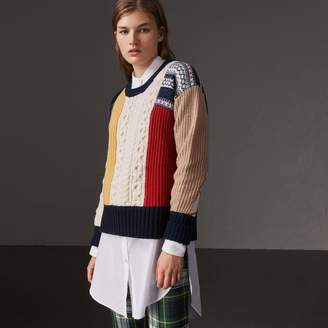Burberry Wool Cashmere Patchwork Sweater