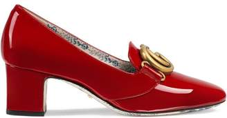 Gucci Patent leather mid-heel pumps with Double G
