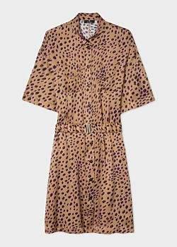 Women's Tan 'Cheetah' Shirt Dress