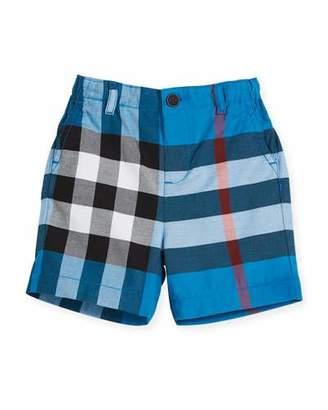 Burberry Sean Cotton Check Shorts, Blue, Size 6M-3Y