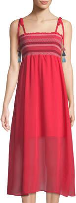 Red Carter Striped Smocked Midi Dress