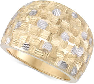 Italian Gold Two-Tone Etched Wide Ring in 14k Gold & White Gold