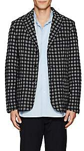 Barena Venezia Men's Checked Wool-Cotton Three-Button Sportcoat-Navy