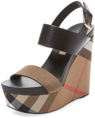 Burberry Women's House Check Leather Wedge