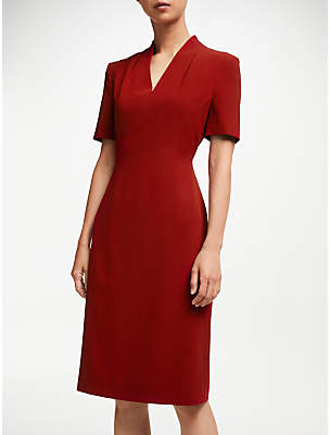 John Lewis & Partners Lily Pleat Neck Fitted Dress
