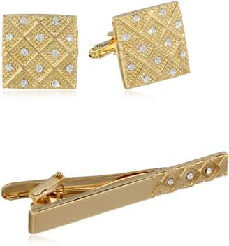 Stacy Adams Men's Cuff Link and Tie Bar With Crystals Set