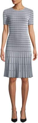 St. John Jewel-Neck Short-Sleeve Monochrome Ottoman Knit Fit-and-Flare Dress