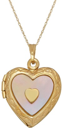 Mother of Pearl Everlasting Gold 10k Gold Mother-of-Pearl Heart Locket Necklace