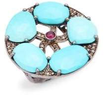 Sterling Silver, Turquoise, Ruby & Champagne Diamond Ring
