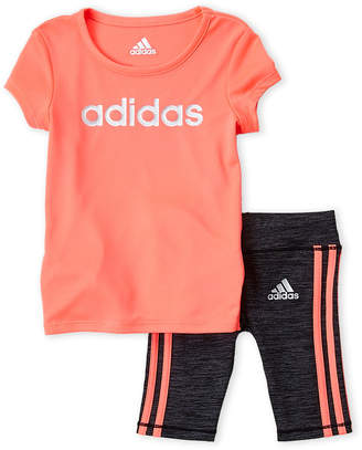 adidas Newborn Girls) Two-Piece Tee & Capri Legging Set