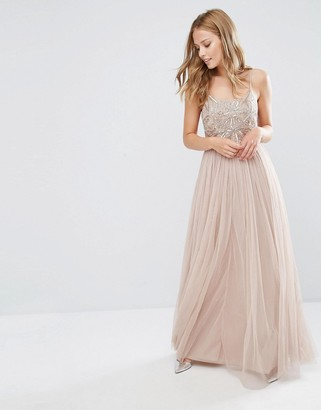 Maya Cami Strap Maxi Dress with Tulle Skirt and Embellishment $121 thestylecure.com
