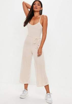 Missguided Nude Ribbed Culotte Romper