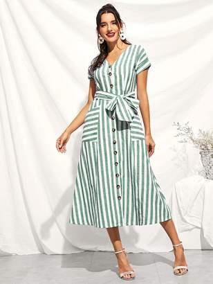 Shein Button Through Patch Pocket Striped Dress